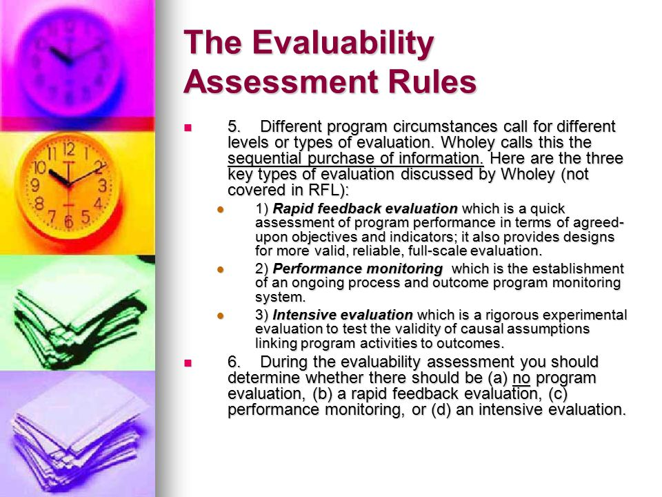 The Evaluability Assessment Rules