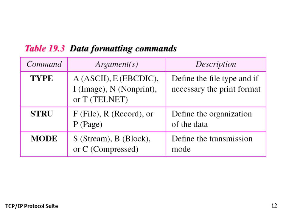 Table 19.3 Data formatting commands