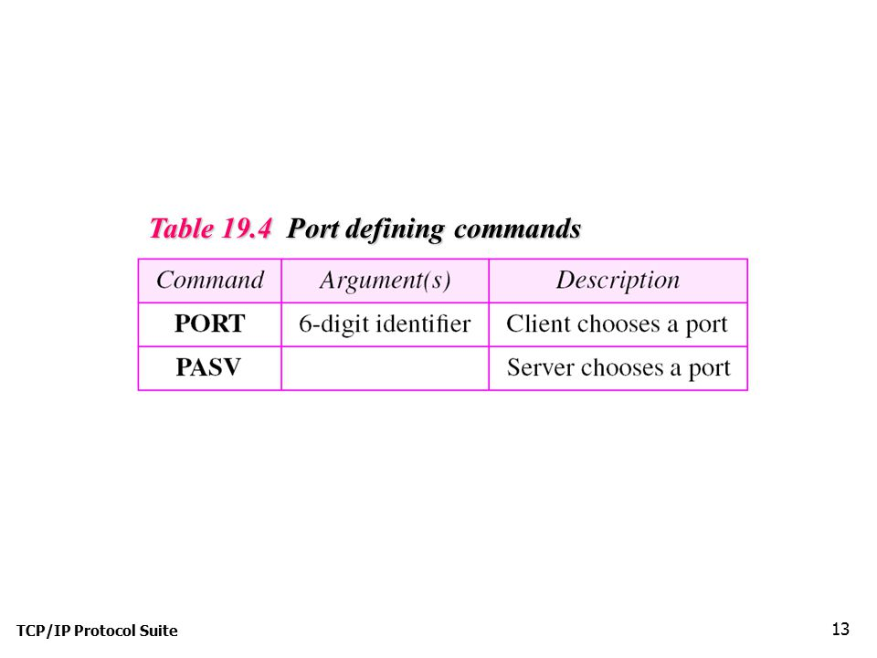 Table 19.4 Port defining commands