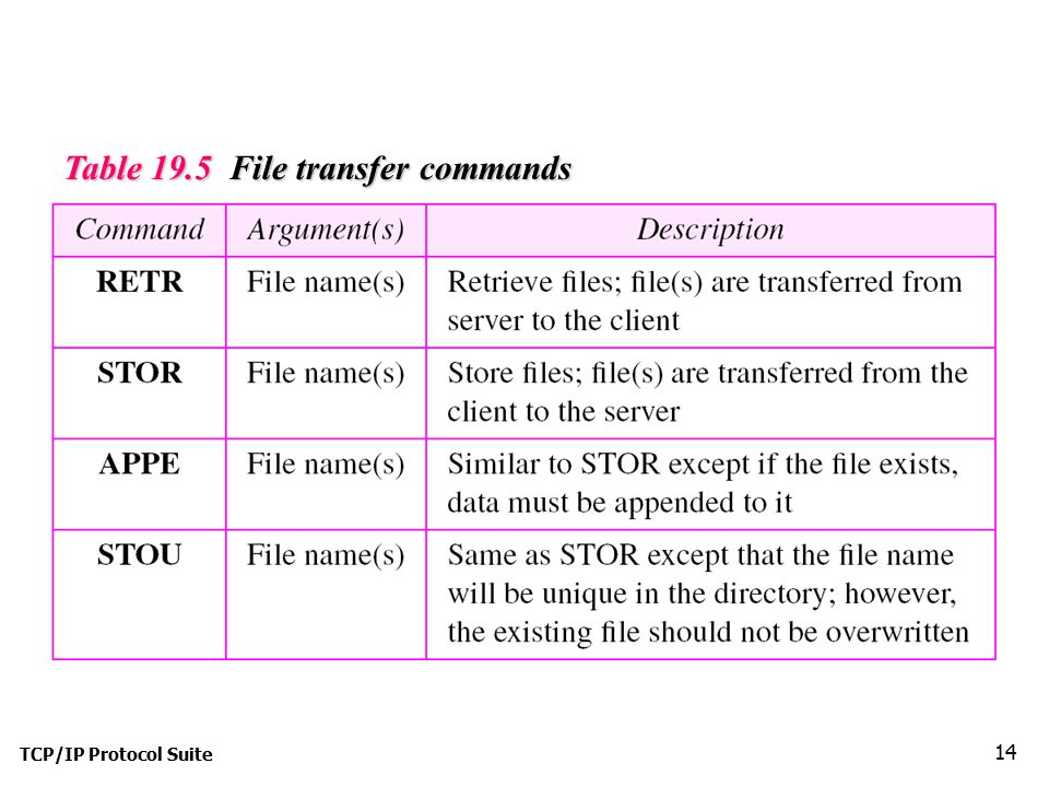 Table 19.5 File transfer commands