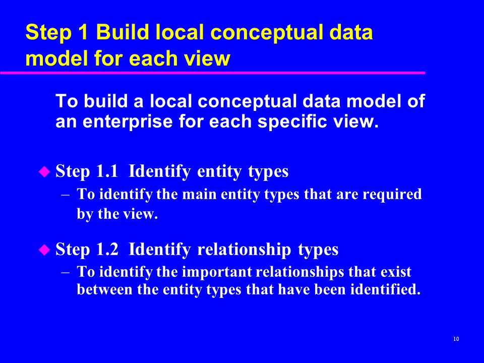 Step 1 Build local conceptual data model for each view