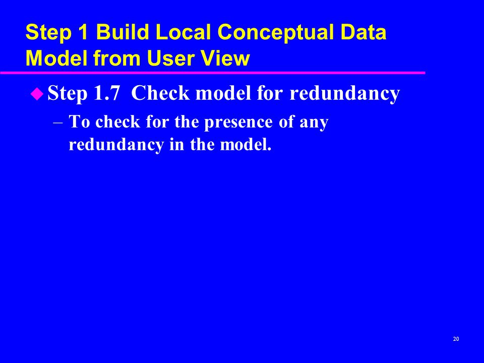 Step 1 Build Local Conceptual Data Model from User View