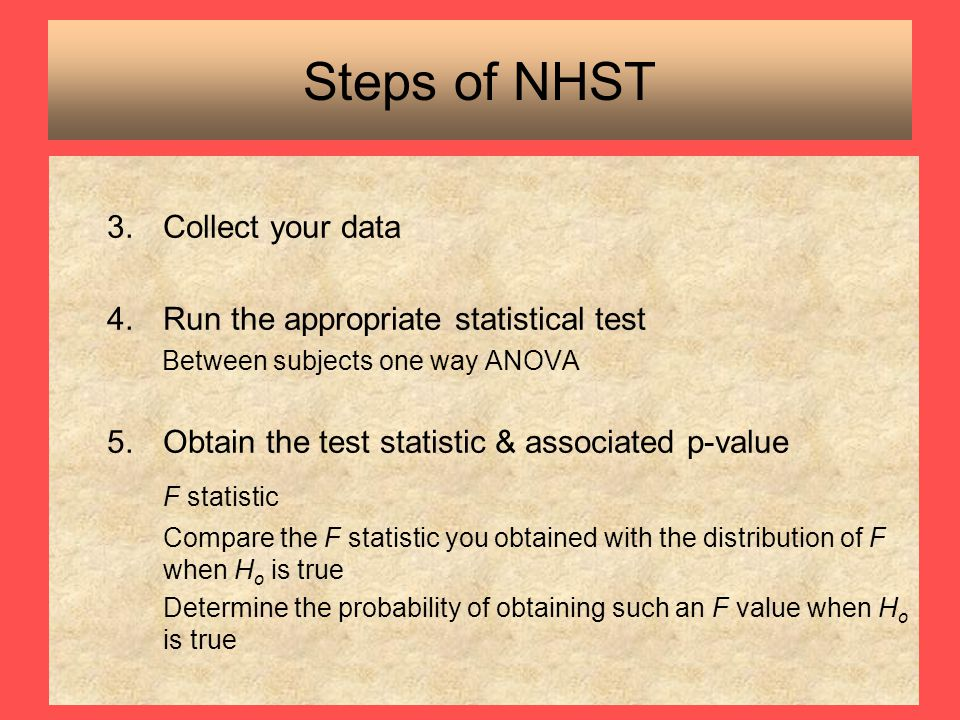 Steps of NHST F statistic Collect your data