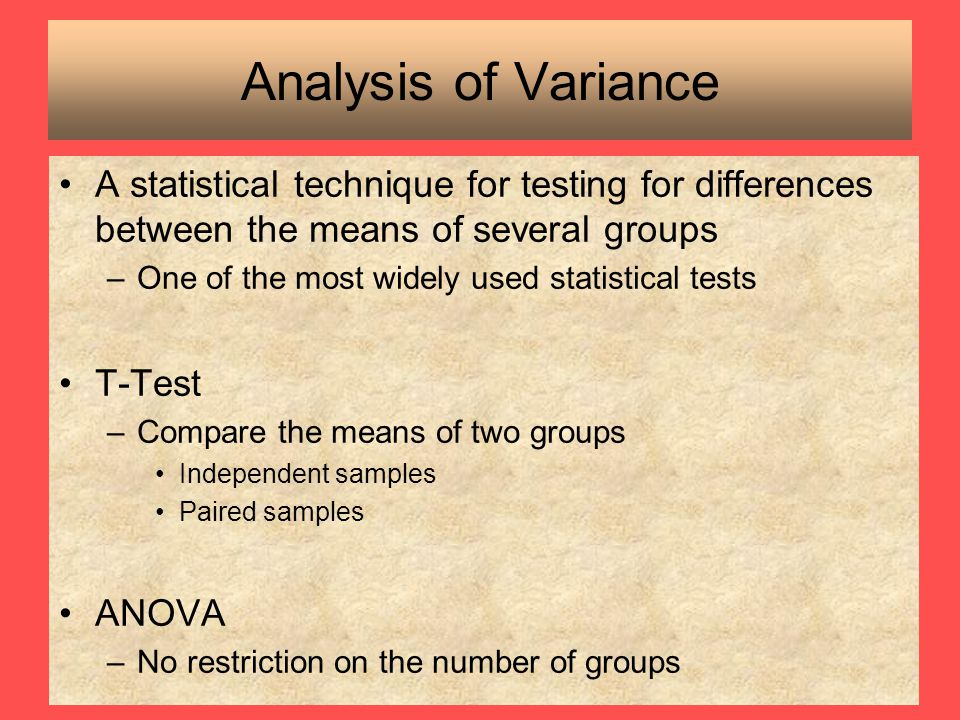 Analysis of Variance A statistical technique for testing for differences between the means of several groups.