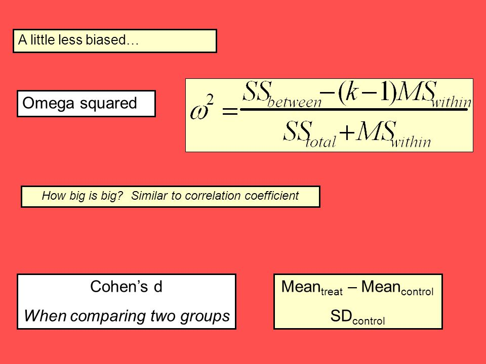 When comparing two groups Meantreat – Meancontrol SDcontrol