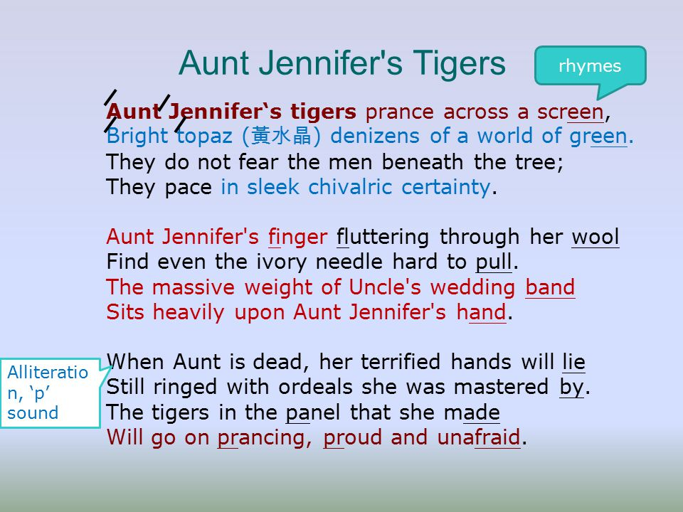 thesis statement for aunt jennifers tigers