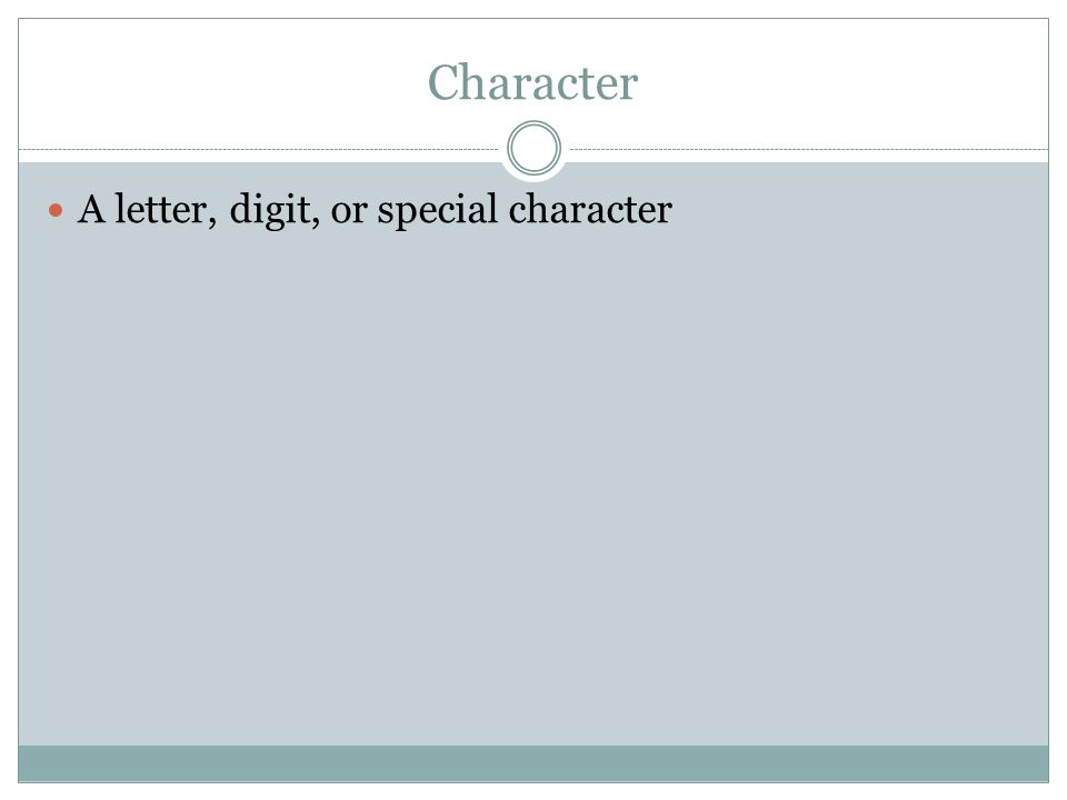 Character A letter, digit, or special character