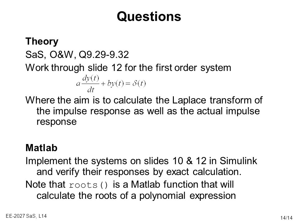 Questions Theory SaS, O&W, Q
