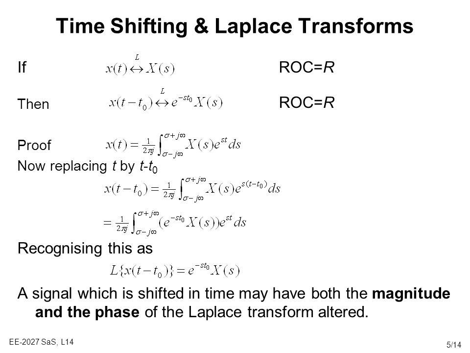 Time Shifting & Laplace Transforms