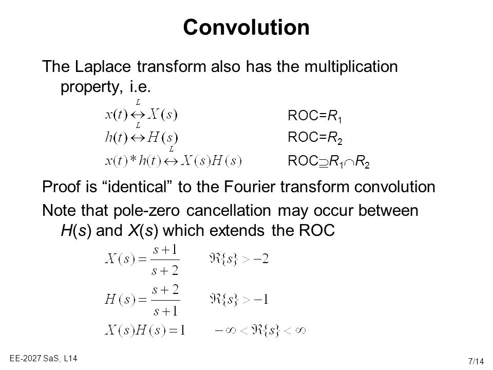 Convolution The Laplace transform also has the multiplication property, i.e. Proof is identical to the Fourier transform convolution.