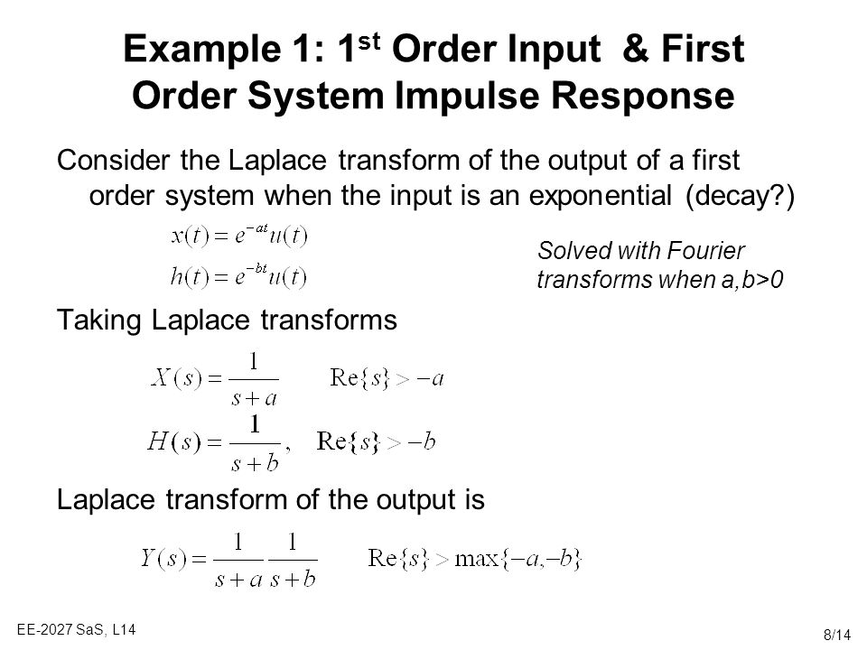 Example 1: 1st Order Input & First Order System Impulse Response