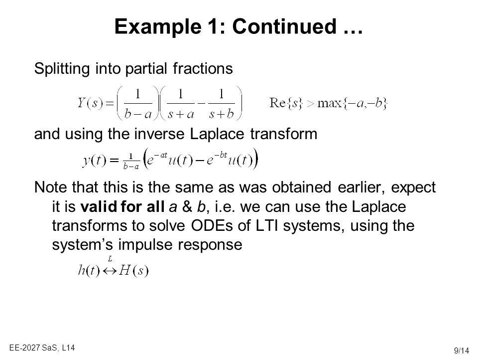 Example 1: Continued … Splitting into partial fractions