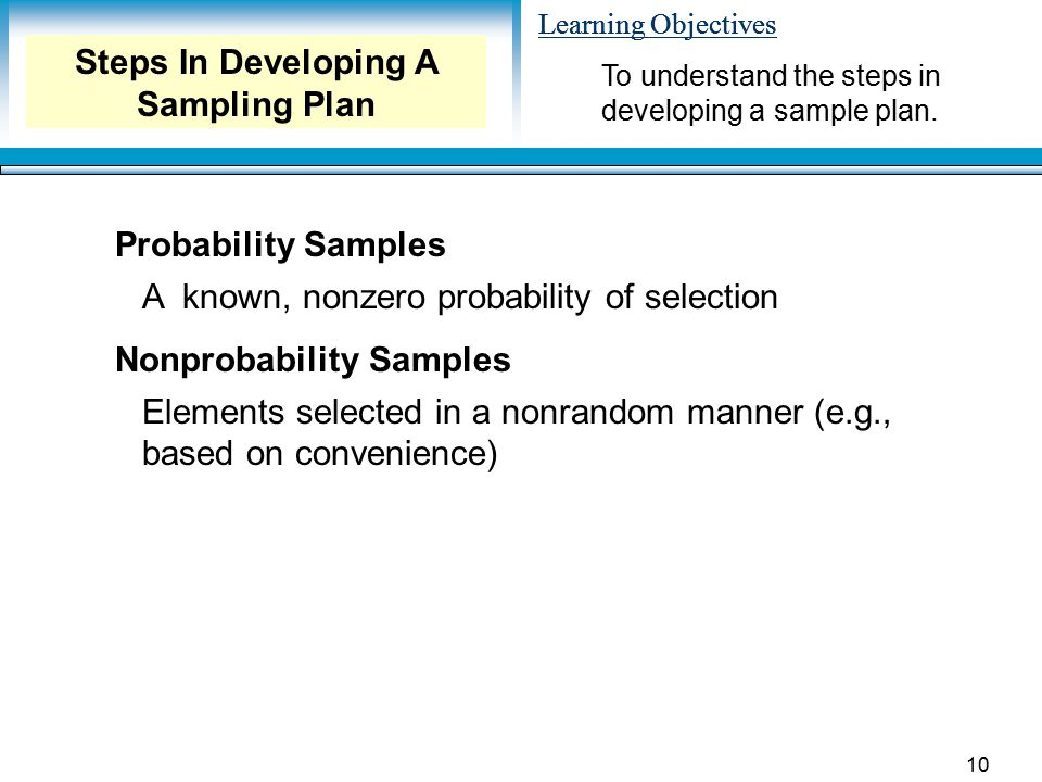 Steps In Developing A Sampling Plan