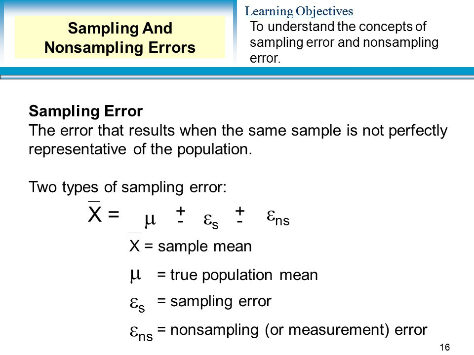 Sampling And Nonsampling Errors