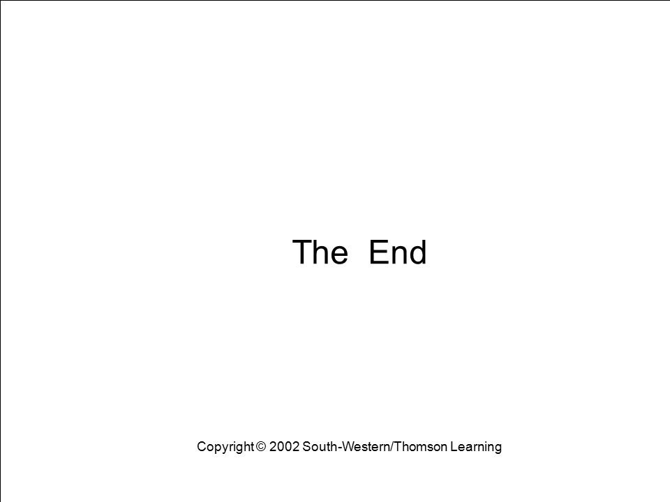 The End Copyright © 2002 South-Western/Thomson Learning