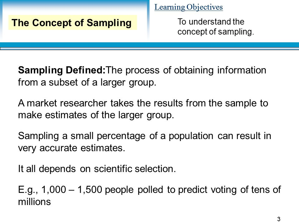 The Concept of Sampling
