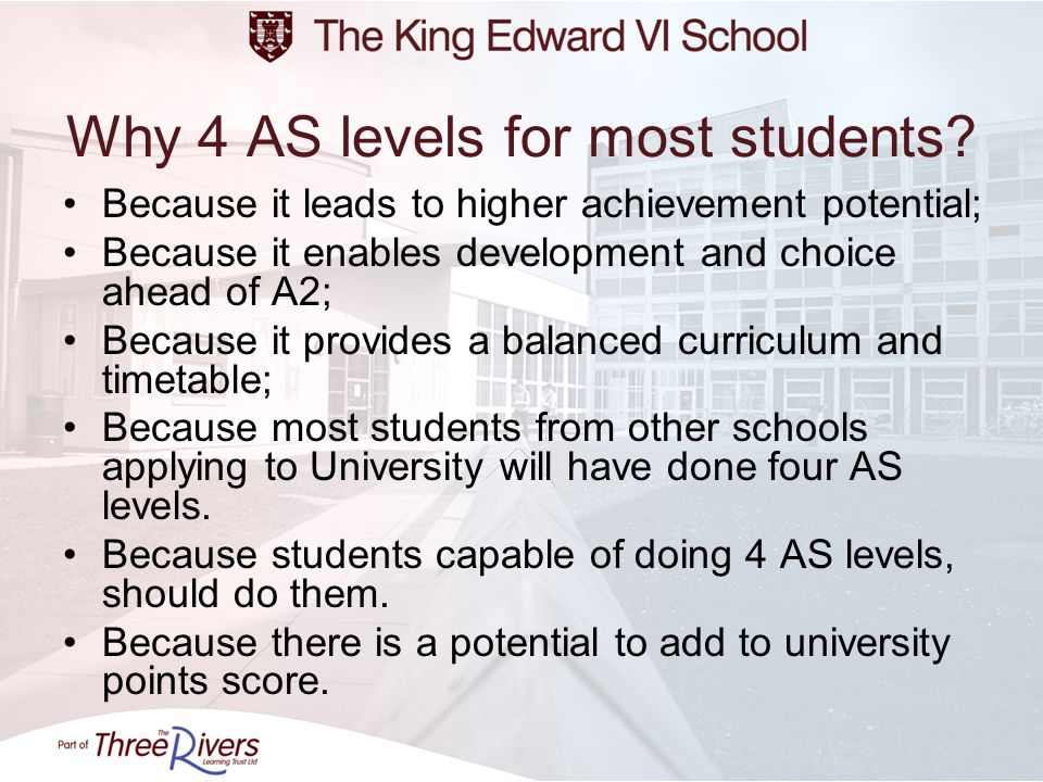 Why 4 AS levels for most students