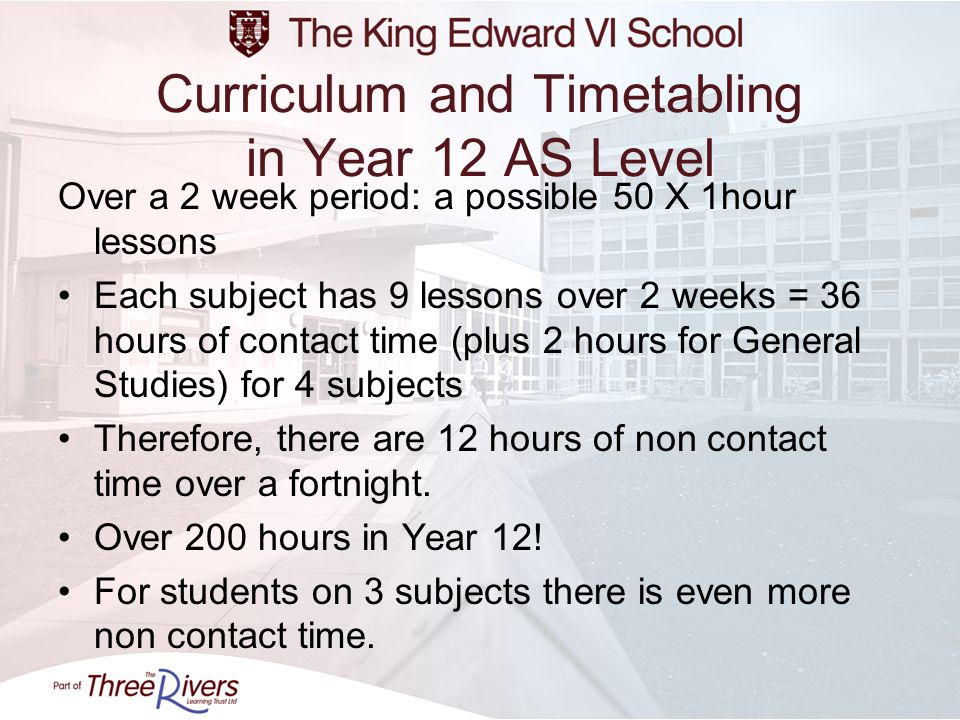 Curriculum and Timetabling in Year 12 AS Level