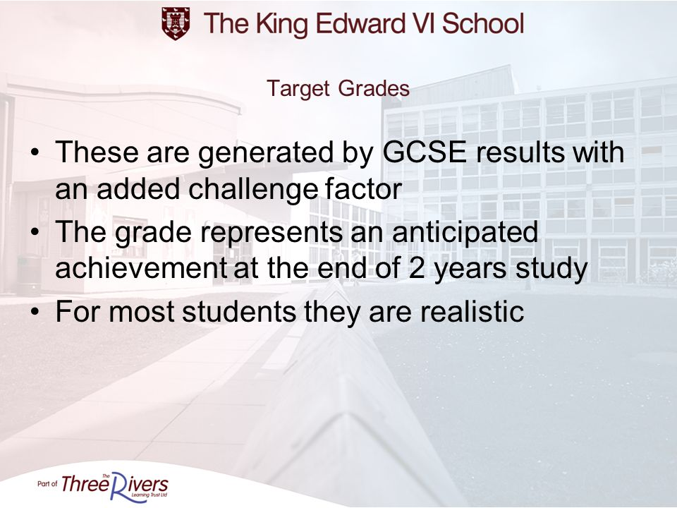 These are generated by GCSE results with an added challenge factor