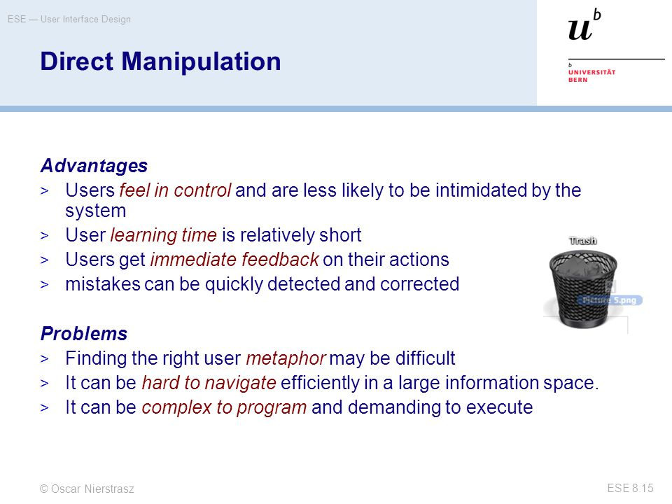 Direct Manipulation Advantages