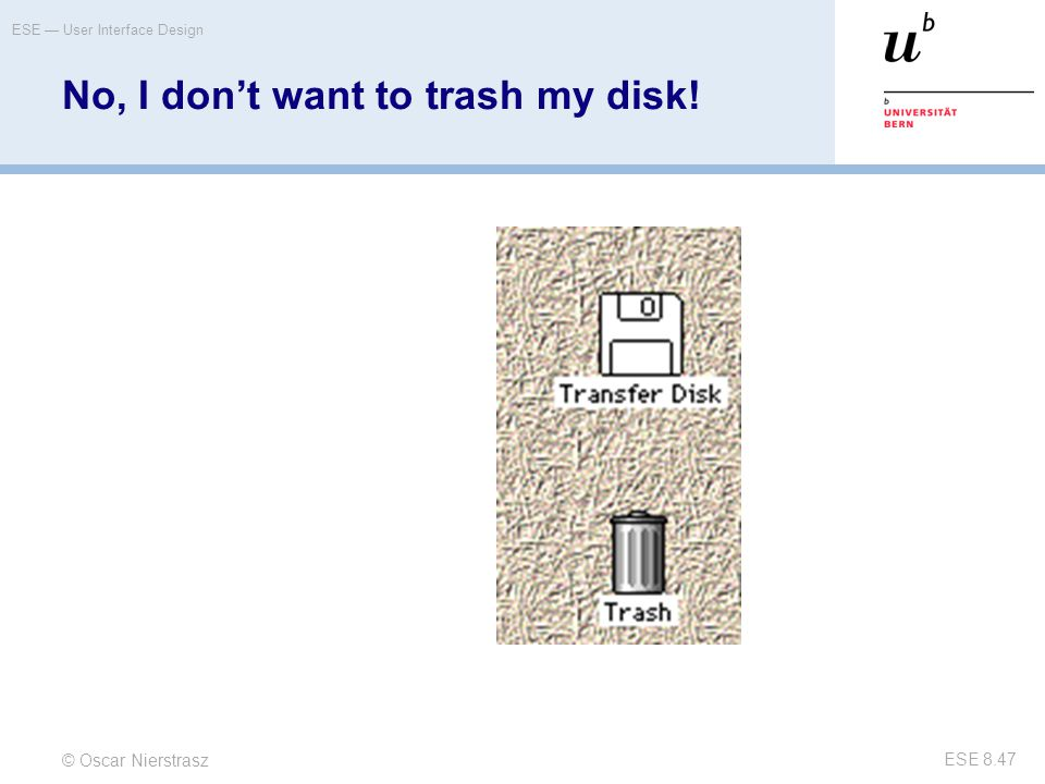 No, I don't want to trash my disk!