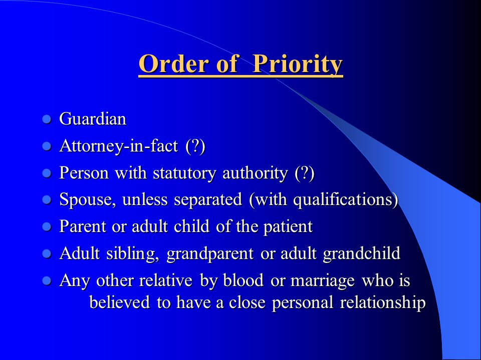 Order of Priority Guardian Attorney-in-fact ( )