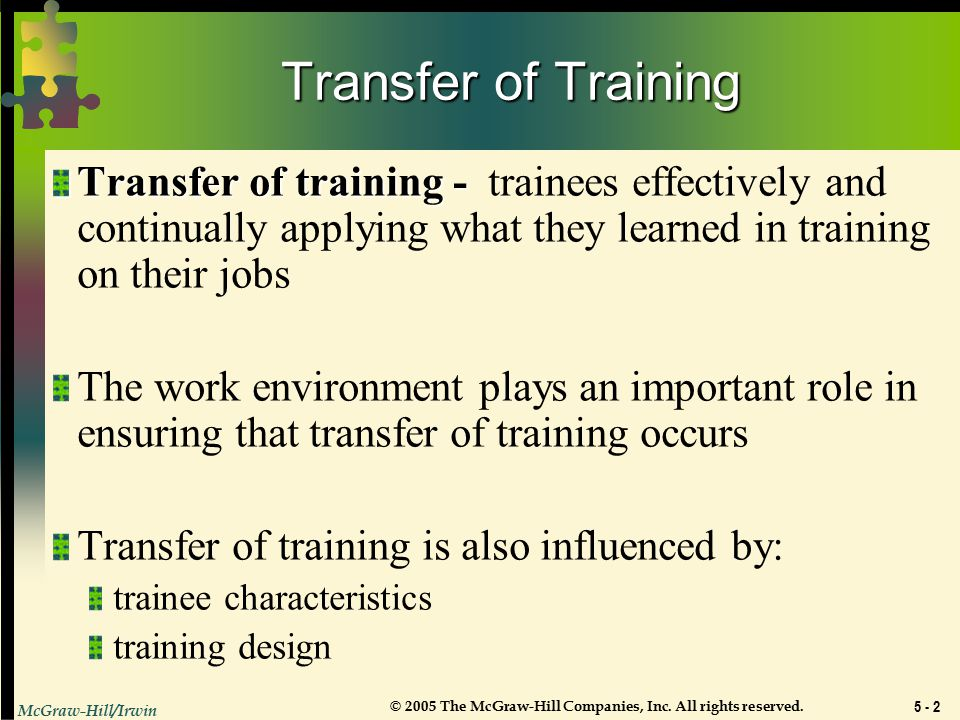 Chapter 5 Transfer of Training  - ppt video online download