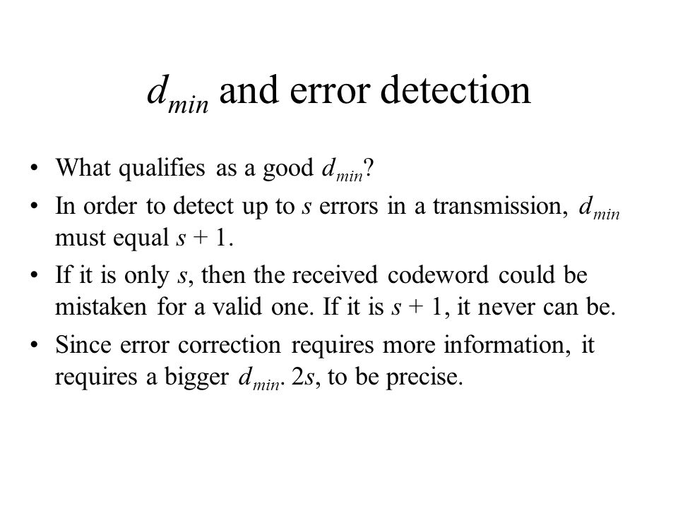 dmin and error detection