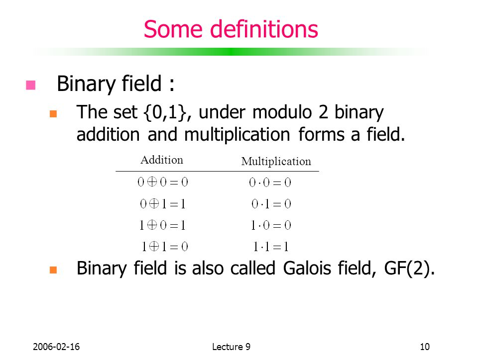 Some definitions Binary field :