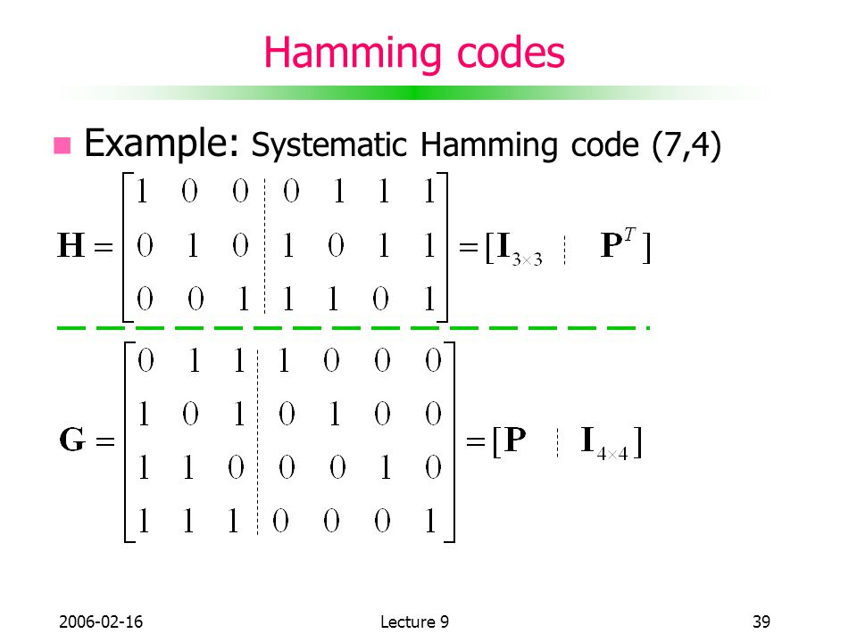 Hamming codes Example: Systematic Hamming code (7,4)