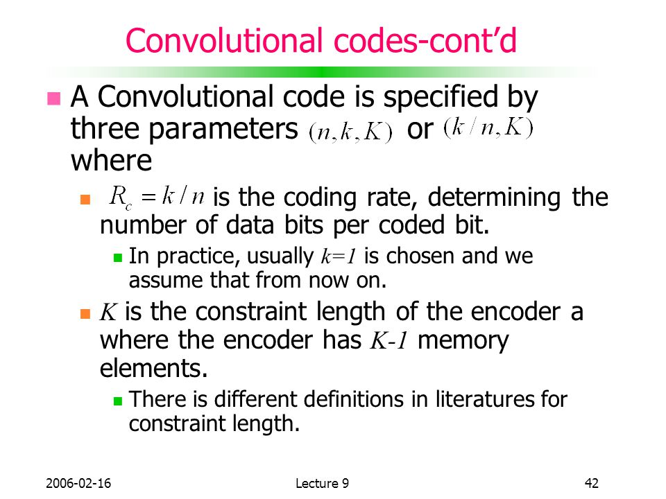Convolutional codes-cont'd