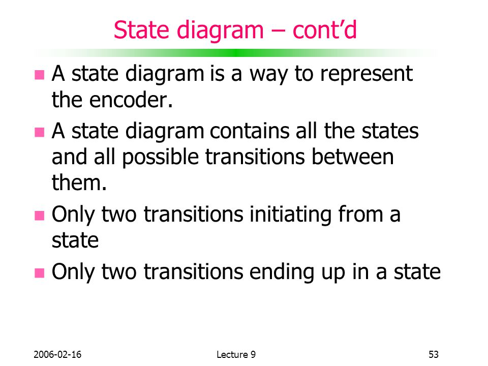 State diagram – cont'd A state diagram is a way to represent the encoder.