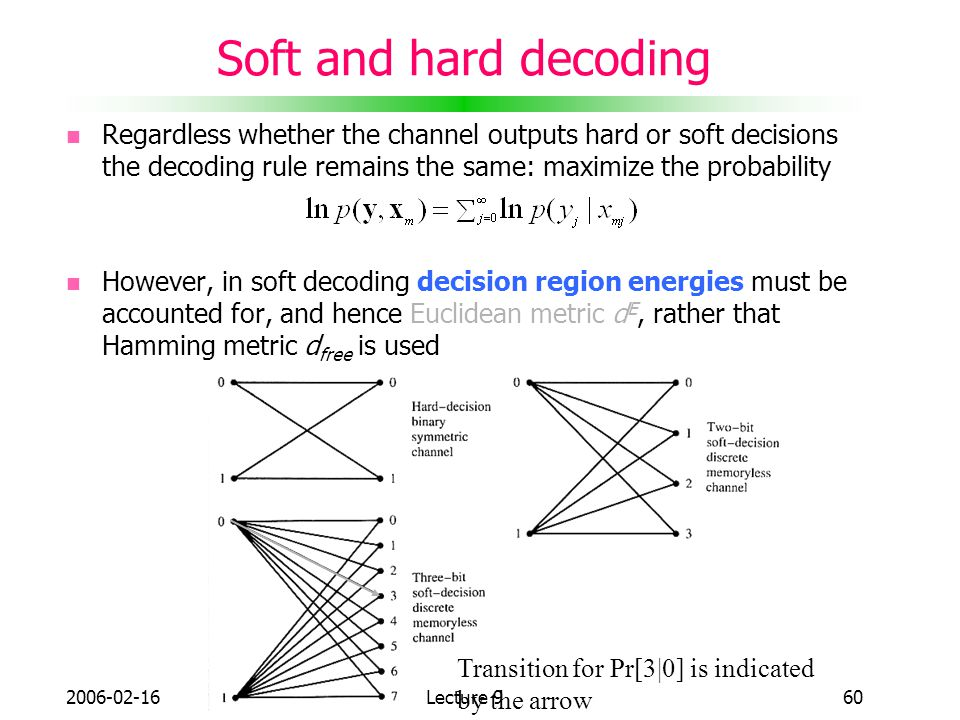Soft and hard decoding Regardless whether the channel outputs hard or soft decisions the decoding rule remains the same: maximize the probability.