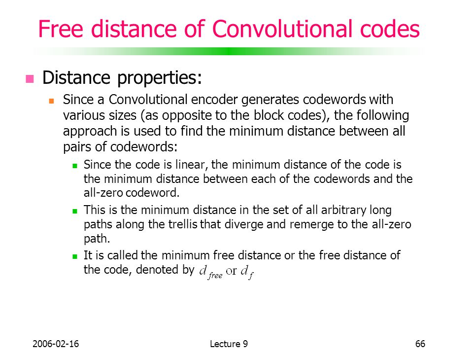 Free distance of Convolutional codes