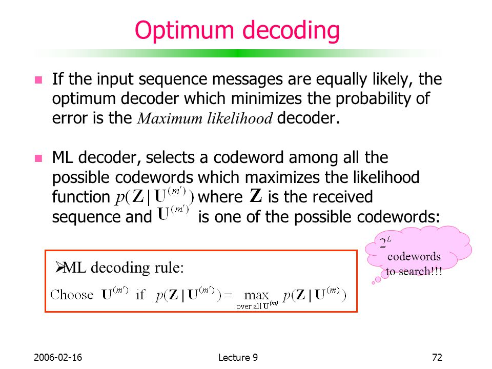 Optimum decoding