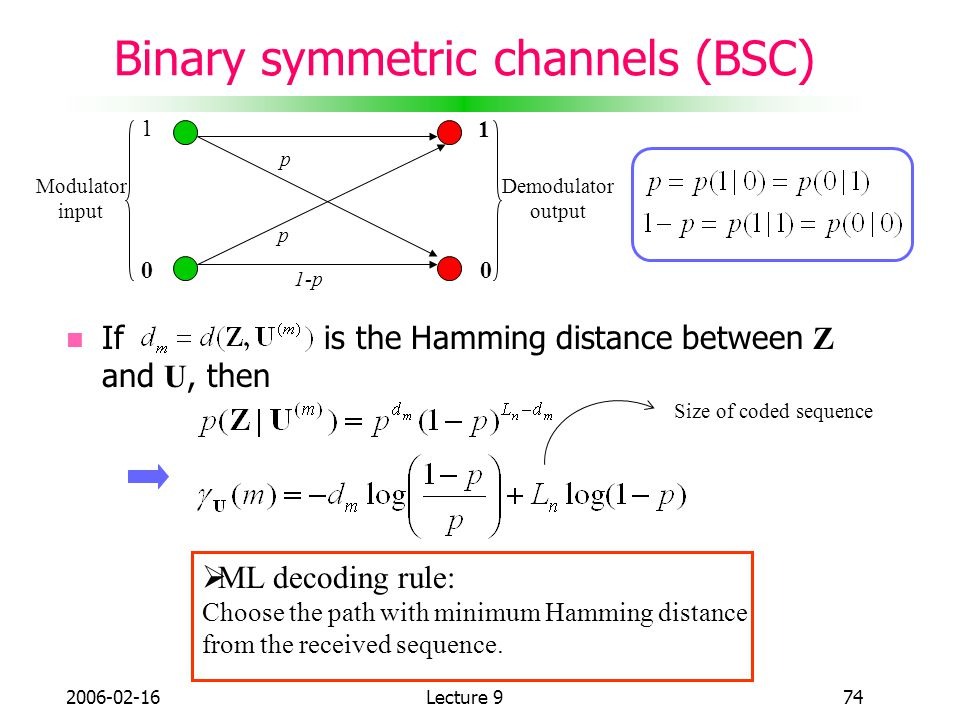 Binary symmetric channels (BSC)