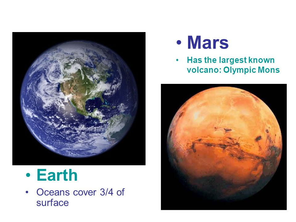 Mars Earth Oceans cover 3/4 of surface
