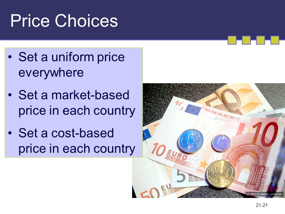 Price Choices Set a uniform price everywhere