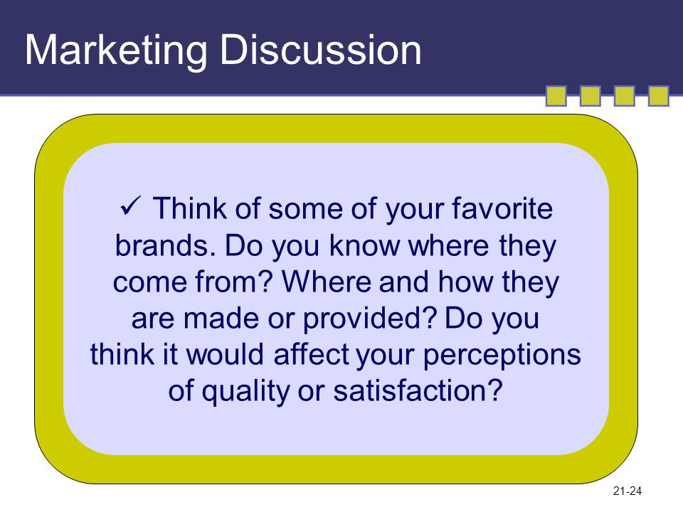 Marketing Discussion Think of some of your favorite
