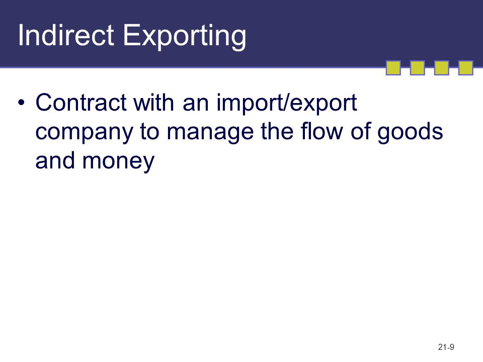 Indirect Exporting Contract with an import/export company to manage the flow of goods and money
