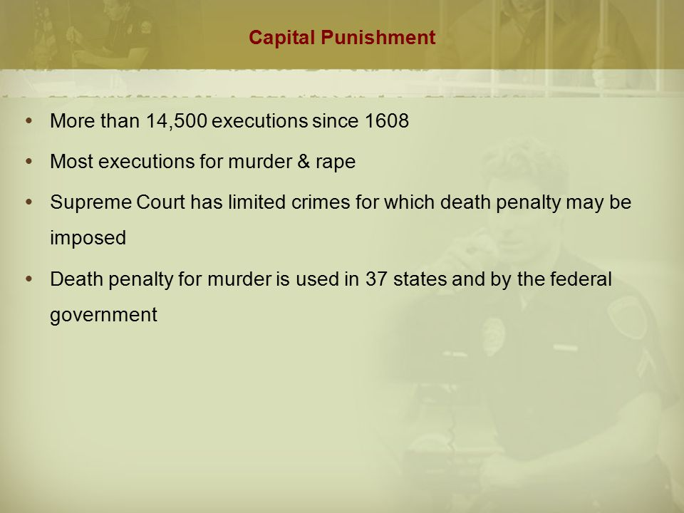 Capital Punishment More than 14,500 executions since Most executions for murder & rape.