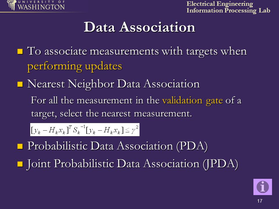 Data Association To associate measurements with targets when performing updates. Nearest Neighbor Data Association.
