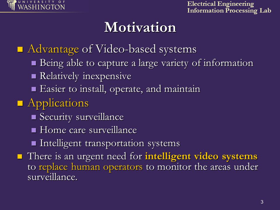 Motivation Advantage of Video-based systems Applications