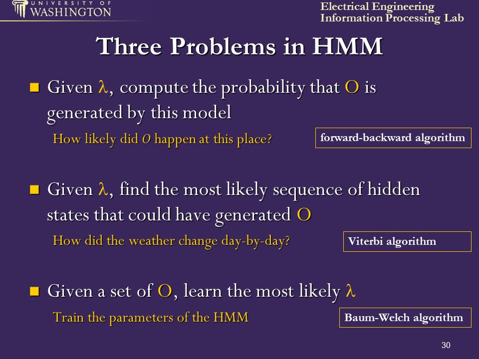 Three Problems in HMM Given l, compute the probability that O is generated by this model. How likely did O happen at this place