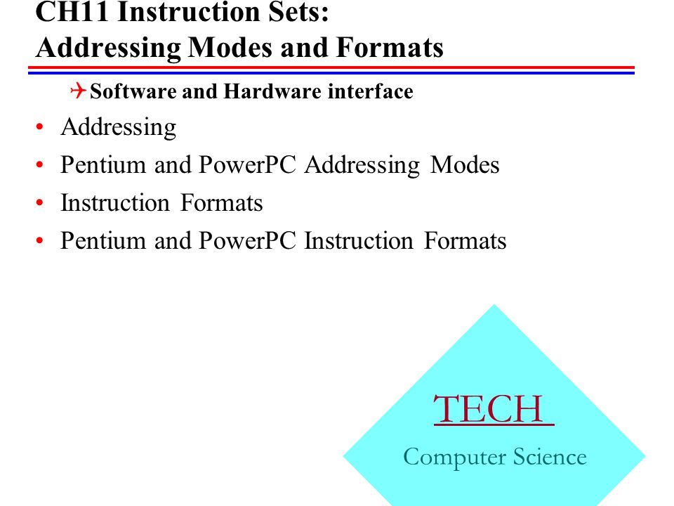 CH11 Instruction Sets: Addressing Modes and Formats