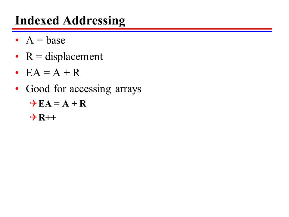 Indexed Addressing A = base R = displacement EA = A + R