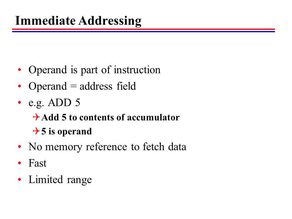 Immediate Addressing Operand is part of instruction
