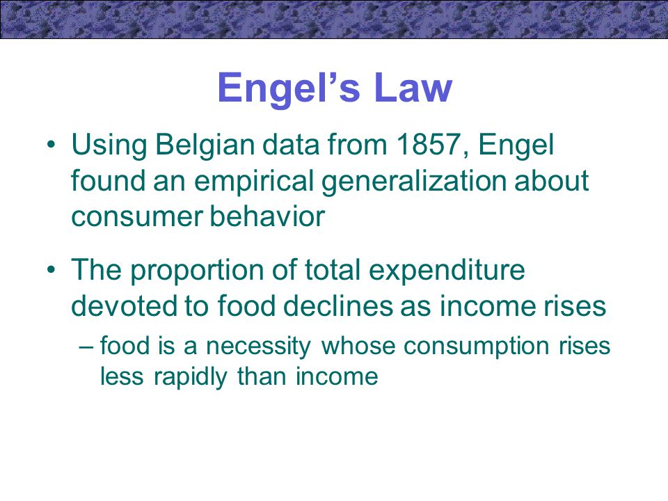 Engel's Law Using Belgian data from 1857, Engel found an empirical generalization about consumer behavior.
