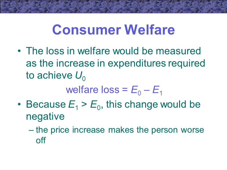 Consumer Welfare The loss in welfare would be measured as the increase in expenditures required to achieve U0.