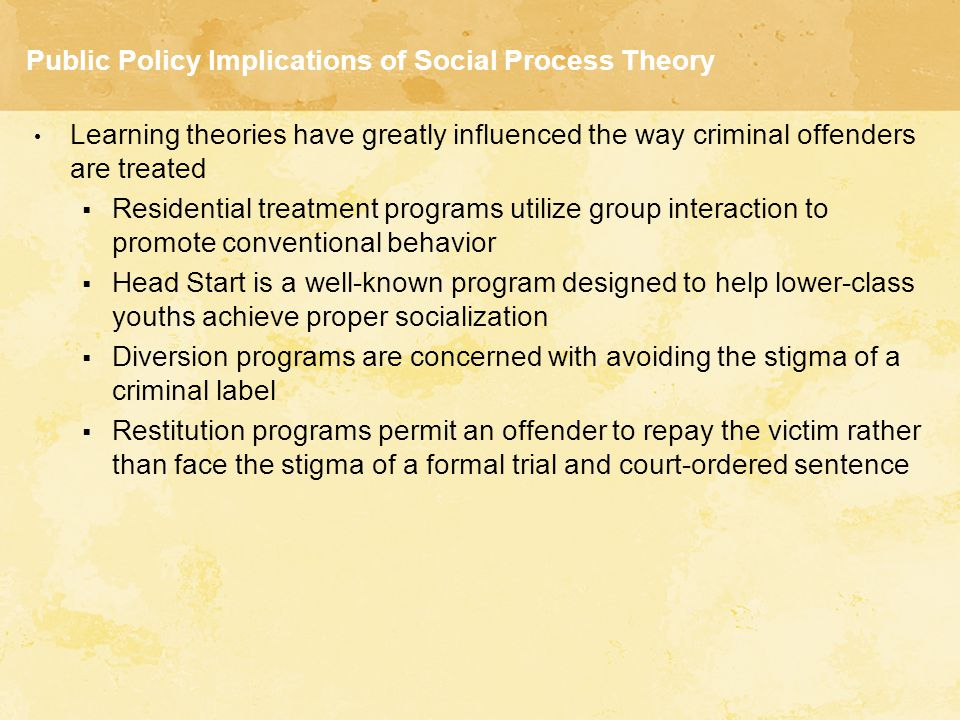Public Policy Implications of Social Process Theory